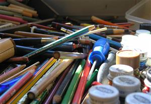 A bunch of arts supplies.
